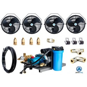 "Misting Fan System 300 PSI Pump, 18"" or 24"" Fans, Choose 1-8 Fans, Starting at $728"